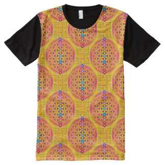 Flower of life - seamless gold pink & Chakras All-Over Print T-Shirt