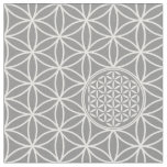Flower of Life - seamless plain white + your backg Fabric