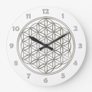 FLOWER OF LIFE - silver + clock face numbers