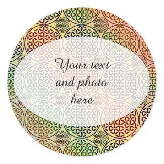 Flower of Life - stamp grunge pattern 1 13 Cm X 13 Cm Square Invitation Card