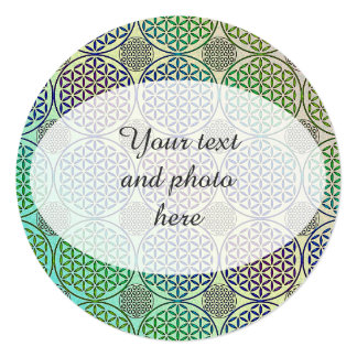 Flower of Life - stamp grunge pattern 2 5.25x5.25 Square Paper Invitation Card