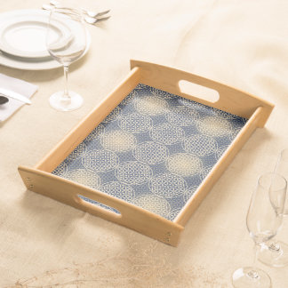 Flower of Life - stamp pattern - blue sand Serving Tray