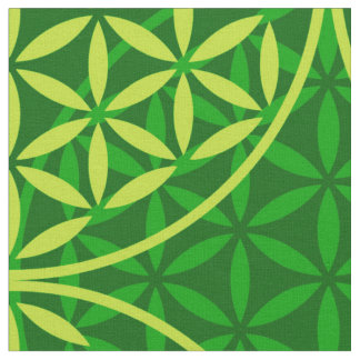 Flower of Life - stamp pattern - green Fabric