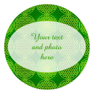 Flower of Life - stamp pattern - green 5.25x5.25 Square Paper Invitation Card