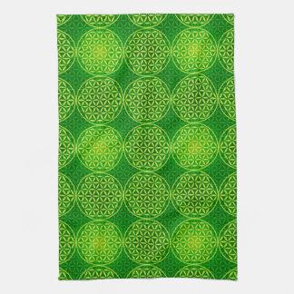 Flower of Life - stamp pattern - green Tea Towel