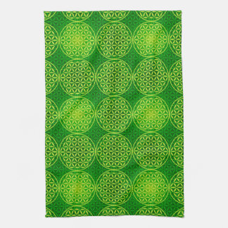 Flower of Life - stamp pattern - green Towel