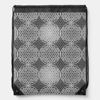 Flower of Life - stamp pattern - grey Drawstring Bag