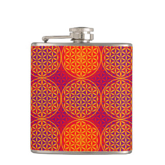 Flower of Life - stamp pattern - orange pink Hip Flask