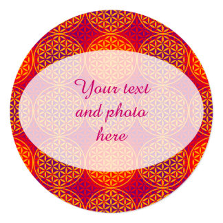 Flower of Life - stamp pattern - orange pink 5.25x5.25 Square Paper Invitation Card