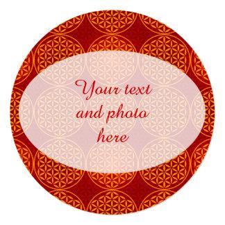 Flower of Life - stamp pattern - orange red 5.25x5.25 Square Paper Invitation Card