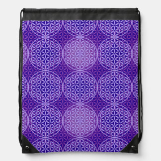 Flower of Life - stamp pattern - purple Drawstring Bag