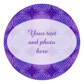 Flower of Life - stamp pattern - purple 5.25x5.25 Square Paper Invitation Card