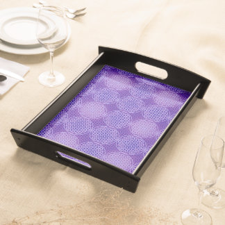 Flower of Life - stamp pattern - purple Serving Tray