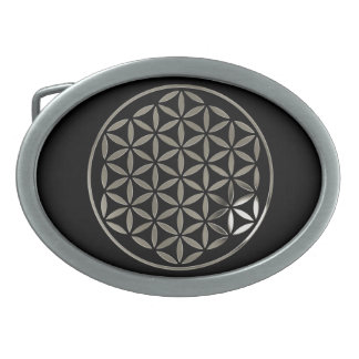 FLOWER OF LIFE - stamp - silver / Blume des Lebens Oval Belt Buckle