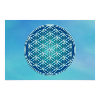Flower of Life - Throat Chakra Poster
