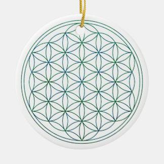 Flower Of Life (V-Earth) Round Ceramic Decoration