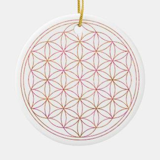 Flower Of Life (V-Sunset) Round Ceramic Decoration