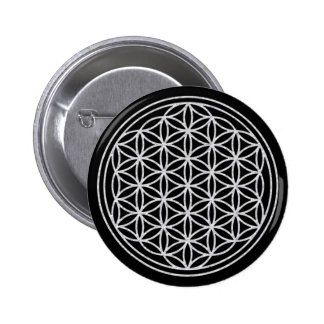 FLOWER OF LIFE - white 6 Cm Round Badge