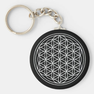 FLOWER OF LIFE - white Basic Round Button Key Ring