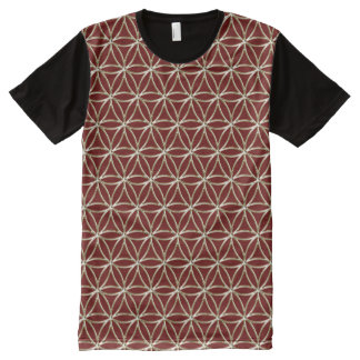 Flower of Life - white gold pattern + your backgr. All-Over Print T-Shirt