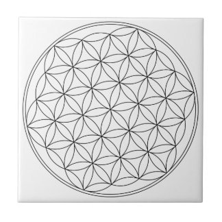 Flower of Life White Small Square Tile