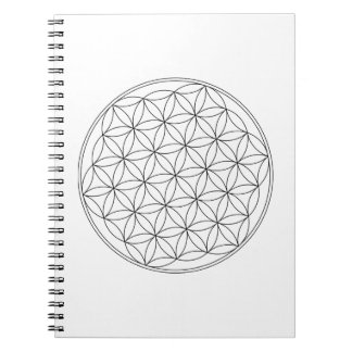Flower of Life White Spiral Notebook