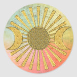 Flower Of Life with Moon Round Sticker