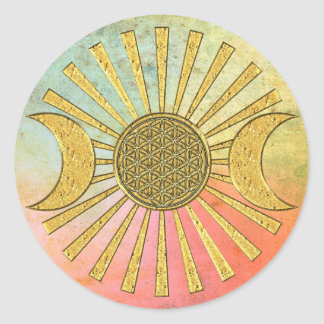 Flower Of Life with Moon Classic Round Sticker