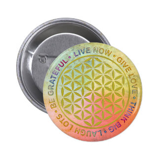 Flower Of Life with Rules Of Life 6 Cm Round Badge