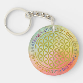 Flower Of Life with Rules Of Life Double-Sided Round Acrylic Key Ring