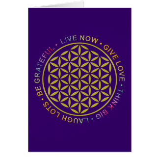 Flower Of Life with Rules Of Life Greeting Card