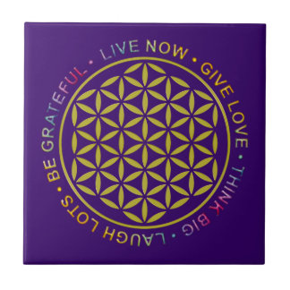 Flower Of Life with Rules Of Life Small Square Tile