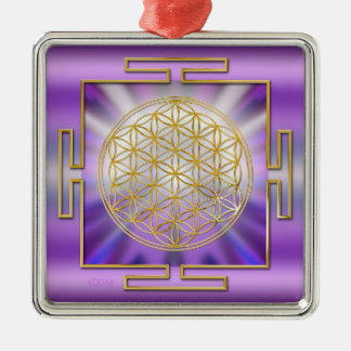 Flower Of Life Yantra Silver-Colored Square Decoration
