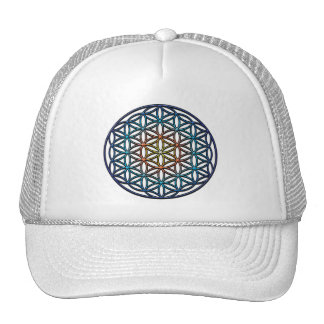 Flower of Life (yellow orange blue gradient) Cap
