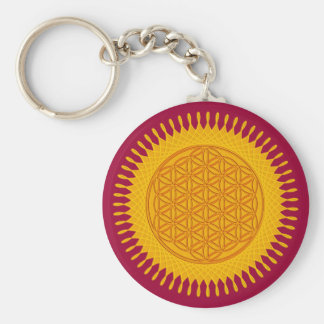 Flower Of Life - yellow sunny Basic Round Button Key Ring