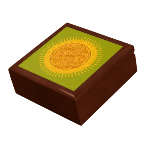 Flower Of Life - yellow sunny Large Square Gift Box