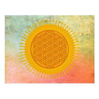 Flower Of Life - yellow sunny Postcard