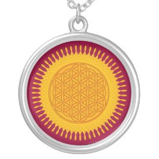 Flower Of Life - yellow sunny Silver Plated Necklace
