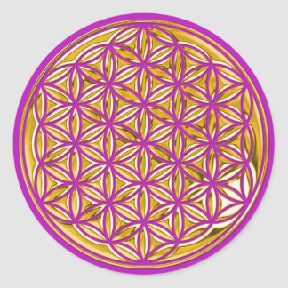 Flower Of Live / full gold | magenta Classic Round Sticker