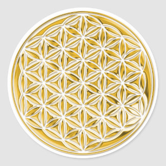 Flower Of Live full gold Round Stickers