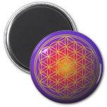 Flower Of Live / gold violet 6 Cm Round Magnet
