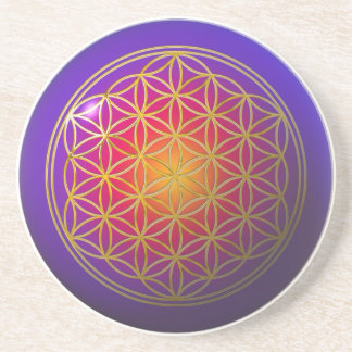 Flower Of Live / gold violet Drink Coaster