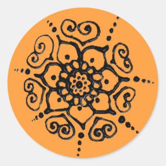 Flower Of Love (Henna) Classic Round Sticker