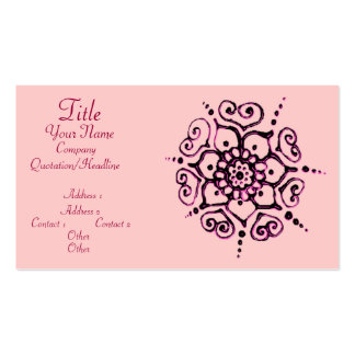 Flower Of Love (Henna) (Pink) Pack Of Standard Business Cards