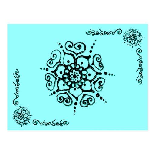 Flower Of Love (Henna) (Turqoise) Postcard