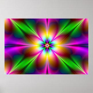 Flower of Neon Power Pink/Purple Girly Girl's Xmas Poster