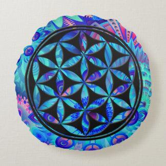 Flower of Peace (black) Round Cushion