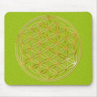 Flower of the life/gold big green splatter BG Mouse Pad