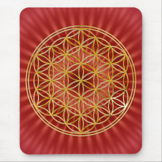 Flower of the life/gold big talk radially BG Mouse Pad