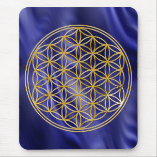 Flower of the life/gold big waves blue BG Mouse Pad
